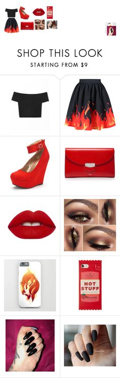 """""""fire bts"""" by swagalishes-911 on Polyvore featuring WithChic, CÉLINE, Lime Crime and Kate Spade"""