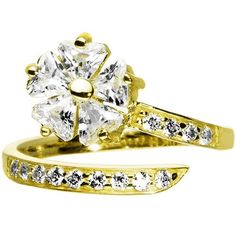 10k Yellow Gold Cubic Zirconia Floral Flower Toe Ring Body Candy. $142.63