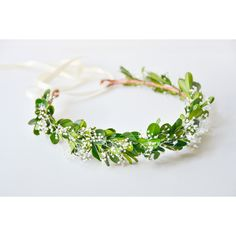 green flower crown, green wedding crown, floral wreath, leaf crown,... ($75) ❤ liked on Polyvore featuring accessories, hair accessories, bridal headbands, leaf garland, flower garland, floral garland and green headband