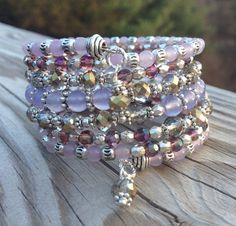 SALE Vibrant Violette 7 Coil Memory Wire Wrap by McHughCreations
