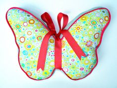 Items similar to Butterfly Pillow Pastels and Bright Pink on Etsy Butterfly Pillow, Reading Pillow, Kids Pillows, Bright Pink, Sewing, Crochet, Handmade Gifts, Etsy, Baby Rooms