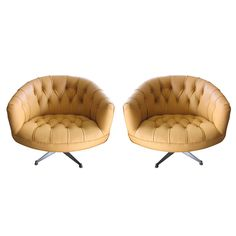 Pair Ward Bennett Tufted Swivel Chairs   From a unique collection of antique and modern swivel chairs at http://www.1stdibs.com/furniture/seating/swivel-chairs/