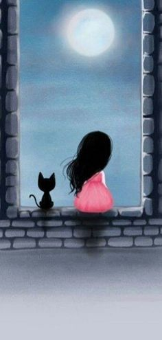 Me and my cat watching the moon