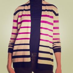 Striped open front cardigan, black/mink/raspberry Long sleeve open front cardigan, 70% rayon/ 30% nylon, perfect for a chilly office Sweaters Cardigans