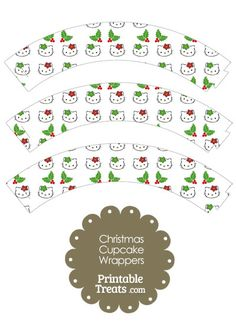 Hello Kitty Christmas Holly Cupcake Wrappers from PrintableTreats.com