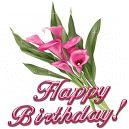 Mensagens com Flores Animadas - Happy Birthday