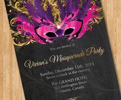 Birthday Invitation Masquerade Party.