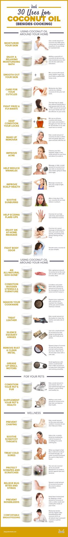 What can't coconut oil do?! Thirty uses of coconut oil besides cooking. Coconut oil is almost like the miracle oil with all that it can do, and I'm sure there are many more uses out there. http://paleo.co/30UsesCO #beautyhackstips