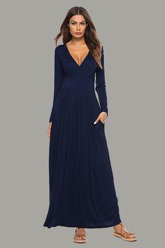 4f1e4b75968 Deep- V Neck Loose Pocket Long Dress Long Sleeve Maxi Dresses