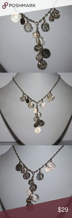 """Sterling silver US coin necklace super cute, 16"""" sterling silver necklace with mini coins dangling from the necklace.  Buy from me with confidence! I have sold over 300 items with a 5 star rating! If you have any questions, do not hesitate to ask.  Looking at a few things in my shop? Put a bundle together, comment on an item that you are ready to check out and let me send you an even better offer!  Thank you for visiting :) Free gifts with every purchase! Jewelry Necklaces"""