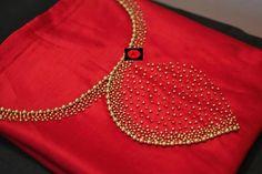 Red Hand work Silk K urti Embroidery On Kurtis, Hand Embroidery Dress, Kurti Embroidery Design, Embroidery Neck Designs, Embroidery Works, Aari Embroidery, Silk Kurti Designs, Salwar Neck Designs, Blouse Neck Designs