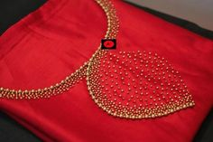 Red Hand work Silk K urti Embroidery On Kurtis, Kurti Embroidery Design, Hand Embroidery Dress, Embroidery Neck Designs, Embroidery Works, Simple Embroidery, Beaded Embroidery, Chudidhar Neck Designs, Churidhar Designs