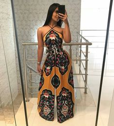 Halter Vintage Paisley Print Wide Leg Jumpsuit - Women Jumpsuit - Ideas of Women Jumpsuit - Halter Vintage Paisley Print Wide Leg Jumpsuit Trend Fashion, Look Fashion, Girl Fashion, Fashion Dresses, Vintage Overall, Vintage Stil, African Attire, African Dress, Classy Outfits