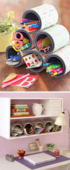 Cute and crafty way to organize your desk! Home Crafts, Diy And Crafts, Arts And Crafts, Paper Crafts, Craft Gifts, Diy Gifts, Teen Room Decor, Diy Organization, Bottle Crafts
