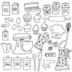 Kitchen Clipart, Cake Clipart, Sketch Notes, Bullet Journal Ideas Pages, Photoshop Brushes, Doodle Art, Planer, Coloring Pages, How To Draw Hands