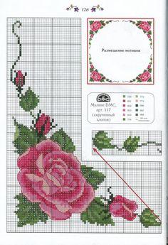 Cross stitch rose corner work