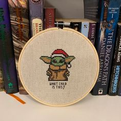 [FO] I caved and jumped on the Baby Yoda train. Hand Embroidery Art, Cross Stitch Embroidery, Embroidery Patterns, Cross Stitch Patterns, Star Wars Christmas Ornaments, Christmas Cross, Cross Stitch Needles, Cross Stitch Baby, Cross Stitch Quotes