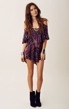 Boho ikat romper, black ankle boots and statement cuff. LOVE THIS