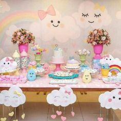 first birthday party ideas boys Rainbow Birthday, Unicorn Birthday Parties, Unicorn Party, Baby Birthday, Cloud Party, Shower Party, Baby Shower Themes, Birthday Decorations, First Birthdays
