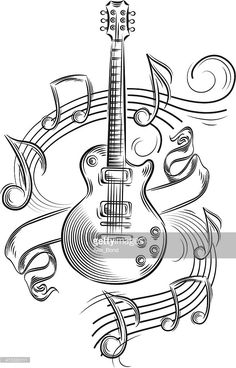 Vector Art : Guitar & notes