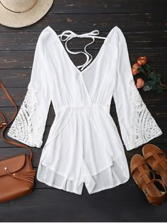 $15.99 Plunge Low Back Linen Romper - WHITE M