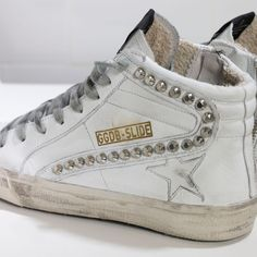 Golden Goose Slide Sneakers In Leather With Leather Star Women - Golden Goose / GGDB