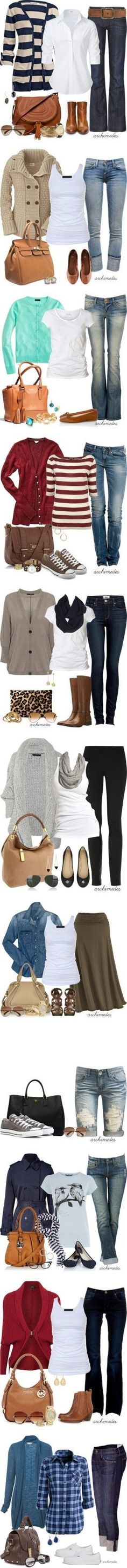 Great outfits...Cardigans make everything look good ;)