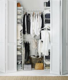 The IKEA ALGOT system has customizable wire storage that can organize what's behind closed doors!love for walk in closet Ikea Storage, Closet Storage, Bedroom Storage, Closet Organization, Smart Storage, Storage Shelves, Walk In Closet Ikea, Wardrobe Closet, Narrow Closet