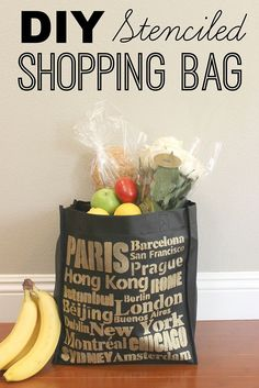DIY Stenciled Shopping Bags - One of my resolutions this year is to start using reusable bags when I go grocery shopping. Of course, I don't want to use just an… Reusable Shopping Bags, Reusable Bags, Grocery Bags, Cutting Edge Stencils, Stencil Diy, Stenciling, Craft Projects, Craft Ideas, Diy Ideas
