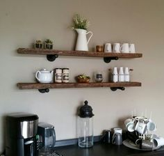 Industrial shelving, reclaimed wood , coffee bar ❤