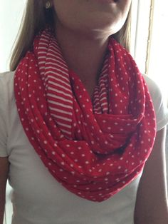Infinity Nursing Scarf- Reversible- Red and White on Etsy, $20.00