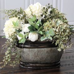Farmhouse Floral Arrangement, Rustic Arrangement, Dried Look Hydrangea Centerpiece, Hydrangeas in a Galvanized Container Updates from SimplyStems on Etsy Faux Flowers, Silk Flowers, Beautiful Flowers, Purple Flowers, White Flowers, Silk Flower Arrangements, Table Arrangements, Deco Nature, Deco Floral