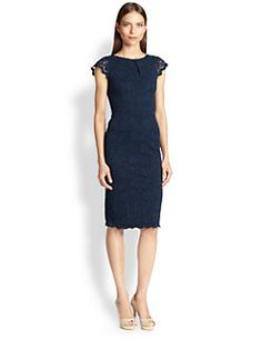 ABS - Lace Cap-Sleeve Sheath Dress