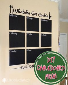 DIY ChalkBoard Menu Wall Tutorial #menuplanning #kitchen #doityourself