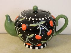 MARY ENGELBREIT TEAPOT BANK BLACK WHITE POLKA DOTS RED CHERRIES NEW in Collectibles, Decorative Collectibles, Decorative Collectible Brands | eBay
