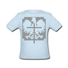 Polska Crucifix Baby Shirt Puderblau [Silbergrau/Samtig] - Baby Bio-Kurzarmshirt