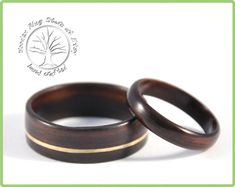 Ebony wooden wedding ring set. Couples ring by WoodenRingStore