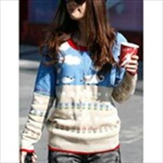 Cute Round Neck Pullover Knitwear Knitted Sweater with Long Sleeves + Sheep Patterns f Girl Woman