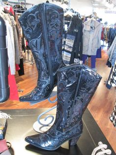 They are FINALLY here! These boots are B-E-A-UTIFUL! Full sequin - all black - SUPER comfy! Will not last long! Sizes: 6-10