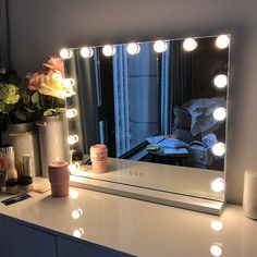 Mirror With Light Bulbs, Vanity Table With Lights, Bulb Mirror, Makeup Mirror With Lights, Led Makeup Mirror, Vanity Tables, Mirror With Lights Around, Led Mirror Lights, Makeup Table With Mirror