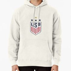 Range of colors available, with the option to print on front or back. Size range suitable for men and women. GO USWNT! Usa Soccer Team, Soccer Cleats, Soccer Drills, Soccer Tips, Nike Soccer, Soccer Ball, Fleece Hoodie, Pullover, Soccer Hoodies