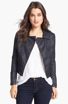 AG Jeans Coated Denim Moto Jacket - less expensive than leather, easier to maintain, and vegan!