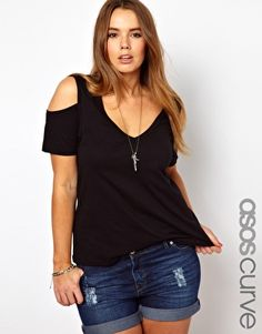 ASOS CURVE Top With Cold Shoulder