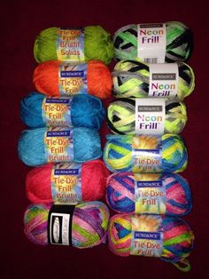 12 Skeins Of Ruffle Yarn! $40 SHIPPED! Neons & Tie-Dyes Blues Greens Pinks Orange + #SundanceDept71 #Ruffle
