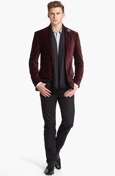 Michael Kors Velvet Blazer, HUGO Sport Shirt & AG Straight Leg Jeans