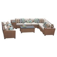 TK Classics Laguna Wicker 11 Piece Patio Conversation Set with 2 Sets of Cushion Covers