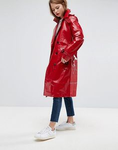 Shop the latest ASOS Trench Coat in Vinyl trends with ASOS! Free delivery and returns (Ts&Cs apply), order today! Rain Slicker, Vinyl Style, Asos, Rain Wear, Trench, Fashion Forward, Fashion Online, Leather Jacket, Christmas 2017