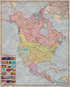 An alternate history map of North America - not sure from what literary source.