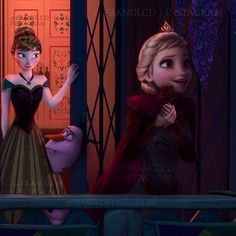 Elsa: For Valentines day Raph gave me this rose, isn't he so sweet? Anna: Yeah, he's a nice guy. (He better not touch my sister or he's gonna get it!)