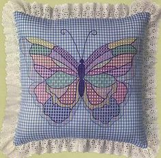 Chicken Scratch Embroidery On Gingham | ... Butterfly Pillow Blue Gingham Chicken Scratch Embroidery KIT | eBay